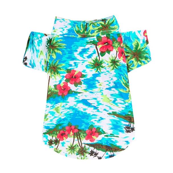 Aqua Blue Flower Dog Hawaiian Shirt