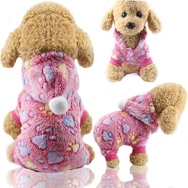 Pink Paw Print Dog Onesie Pyjamas