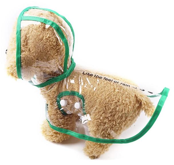 Green Transparent Dog Rain Coat