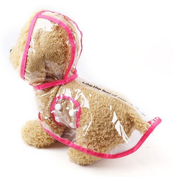 Rose Pink Transparent Dog Rain Coat