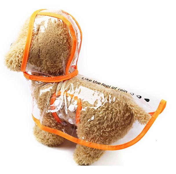 Orange Transparent Dog Rain Coat