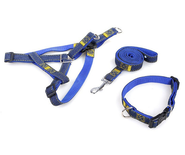 Blue Denim 3 Piece Dog Collar Harness & Lead Set