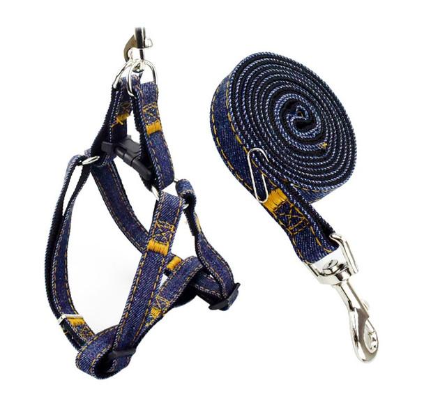 Black Blue Denim Dog Harness & Lead Set