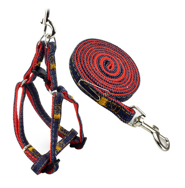 Red Blue Denim Dog Harness & Lead Set