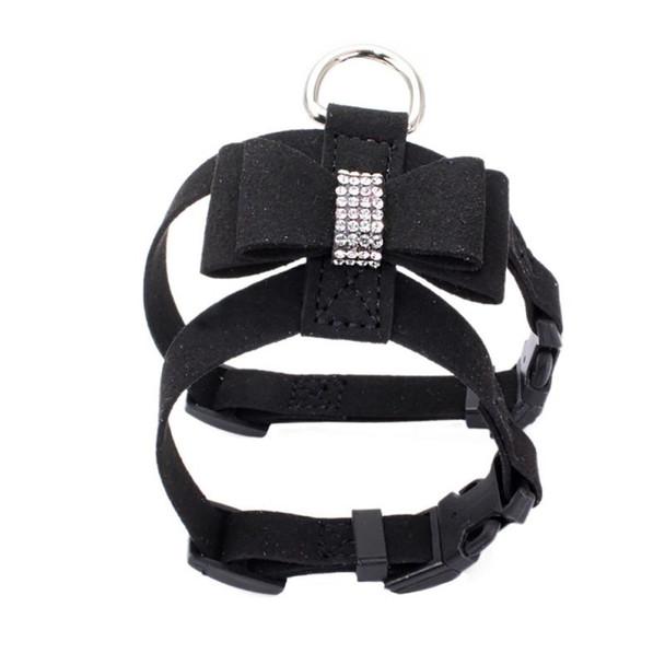 Black Rhinestone Bow Dog Harness