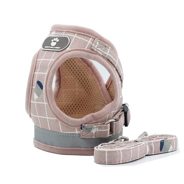 Pink Check Dog Vest Harness & Lead Set