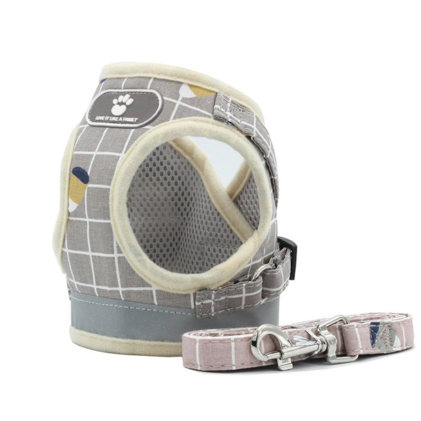 Beige Check Dog Vest Harness & Lead Set
