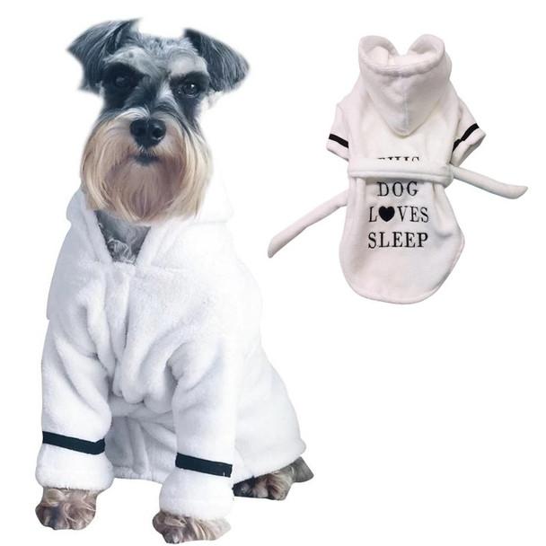 White This Dog Loves Sleep Dog Bathrobe