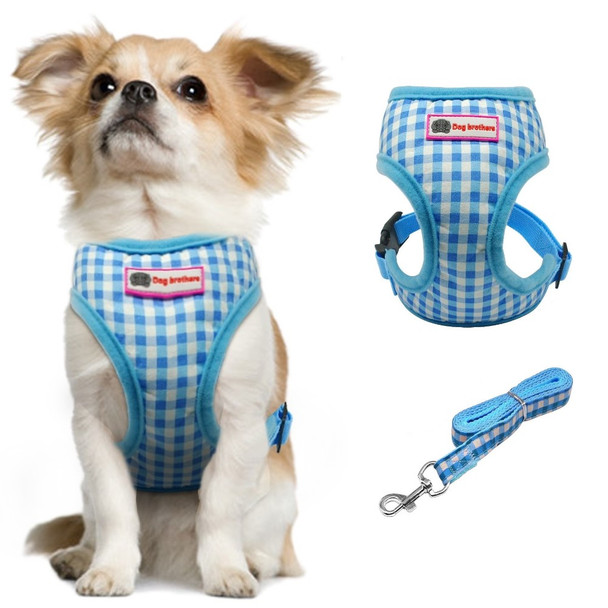 Blue White Check Dog Harness & Lead Set