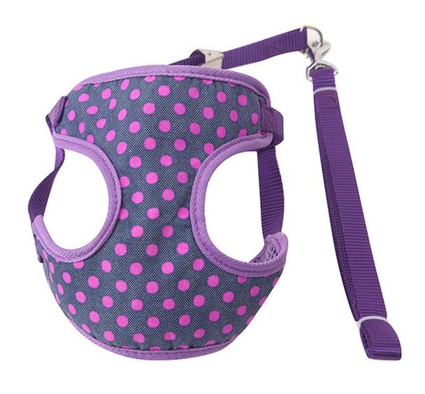 Purple Spotty Dog Harness & Lead Set