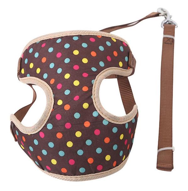 Brown Spotty Dog Harness & Lead Set