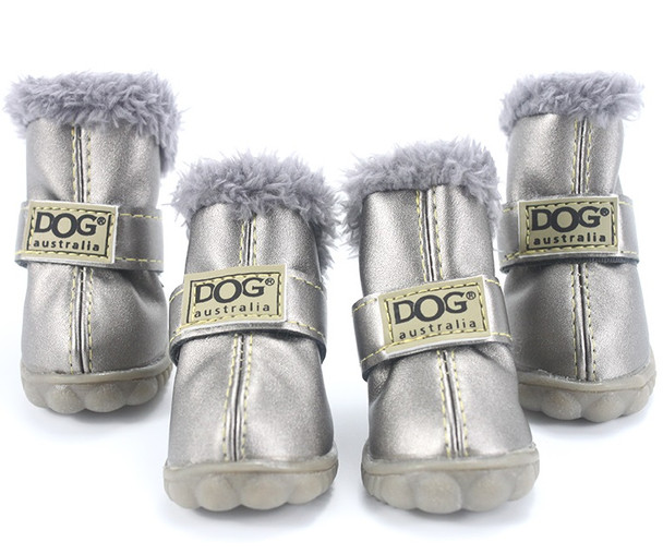 Silver Dog Snow Boots