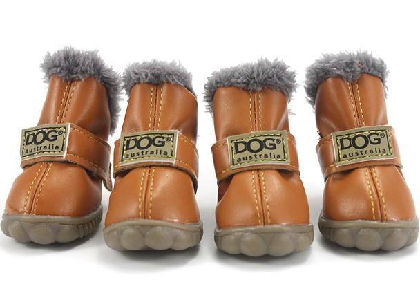 Tan Brown Dog Snow Boots