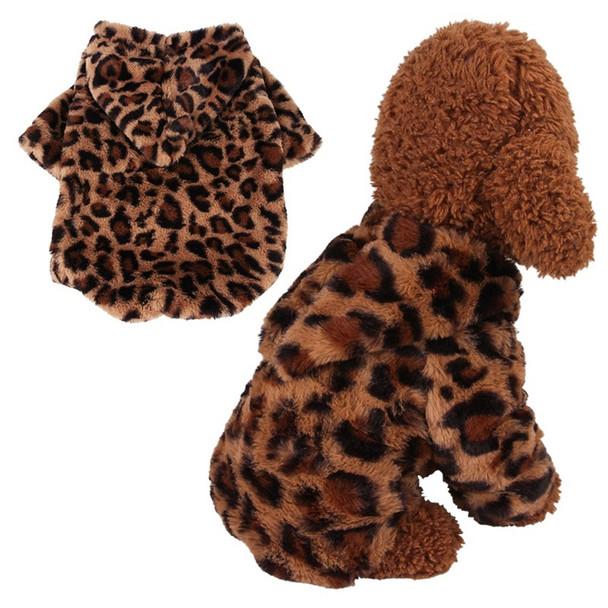 Leopard Print Fleece Dog Hoodie
