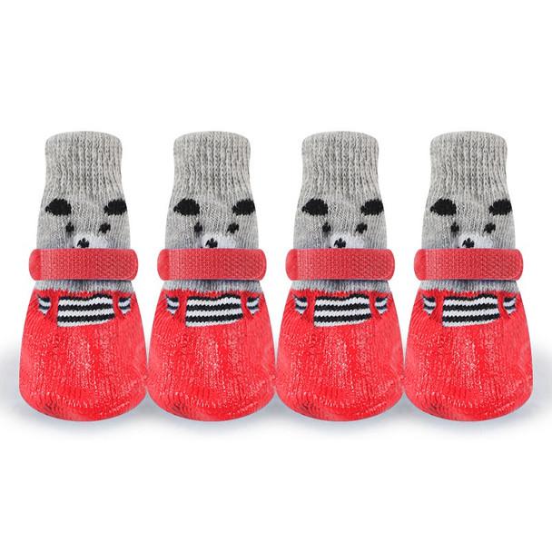 Red Non-Slip Dog Slipper Socks