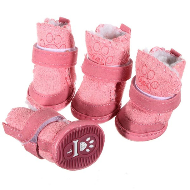 Pink Suede Dog Winter Boots