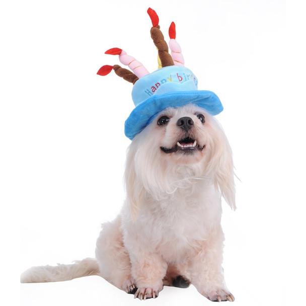 Blue Happy Birthday Dog Party Hat