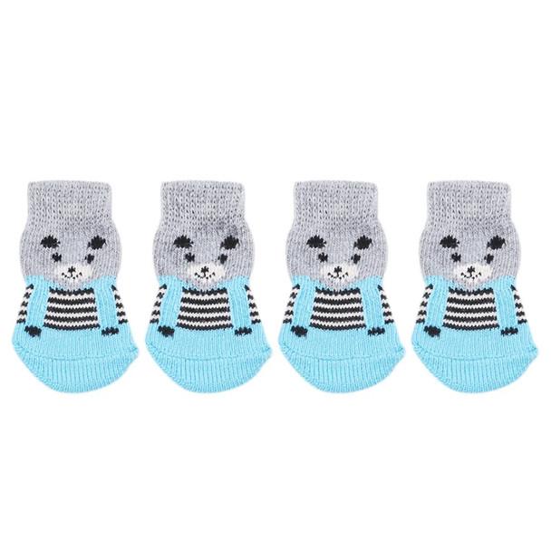 Grey Blue Bear Dog Socks