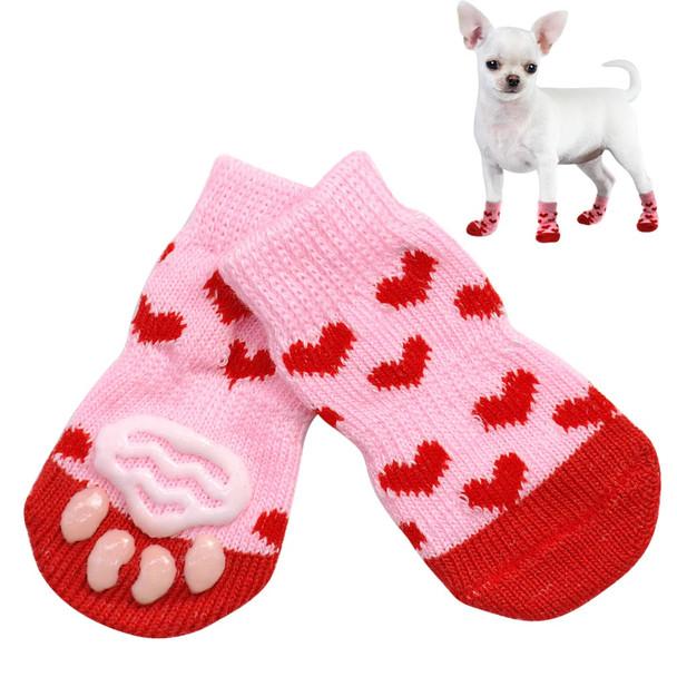 Pink Red Heart Dog Socks