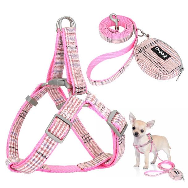 Pink Tartan Dog Harness Lead & Purse Set