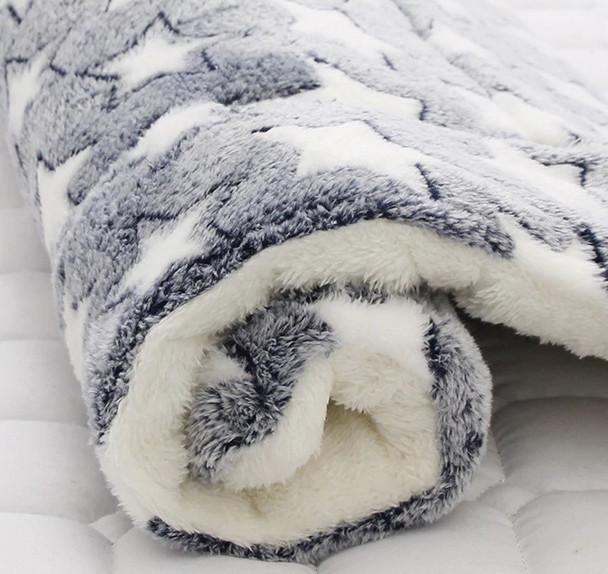 Grey Star Fleece Dog Cushion Mat