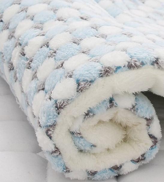 Blue Dots Fleece Dog Cushion Mat