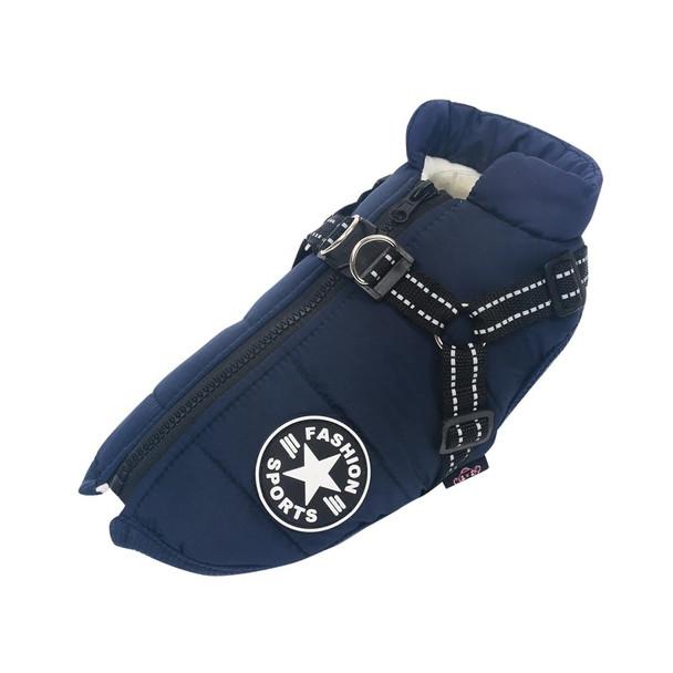 Blue Winter Dog Harness Coat