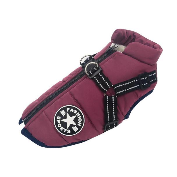 Purple Winter Dog Harness Coat