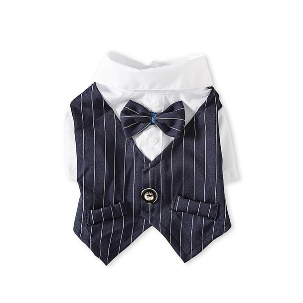 Navy Blue Pinstripe Dog Tuxedo Shirt