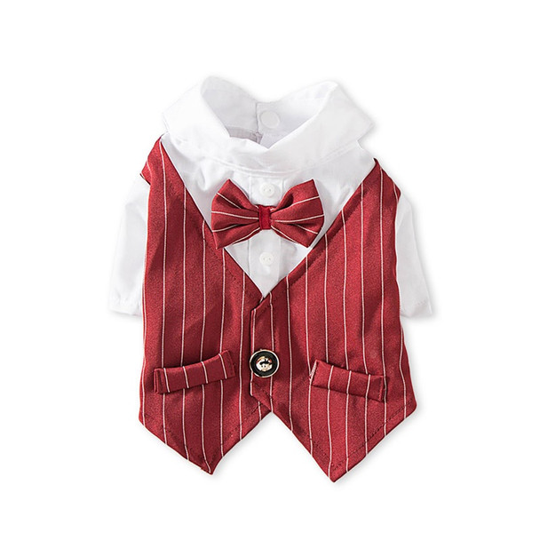 Dark Red Pinstripe Dog Tuxedo Shirt