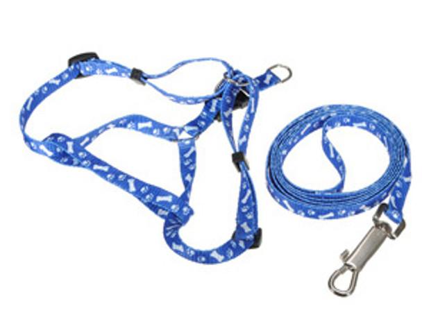 Dark Blue Bones & Paws Design Dog Harness & Lead Set