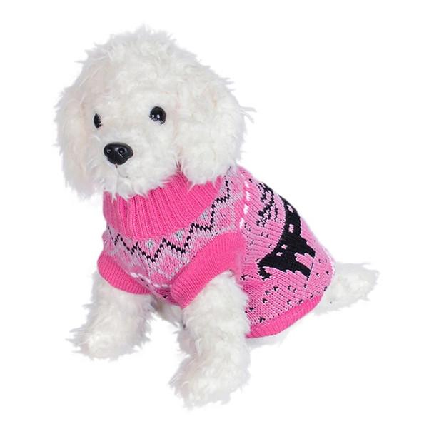 Pink Deer Festive Knitted Dog Jumper