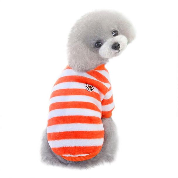 Orange White Striped Fleece Dog Jumper