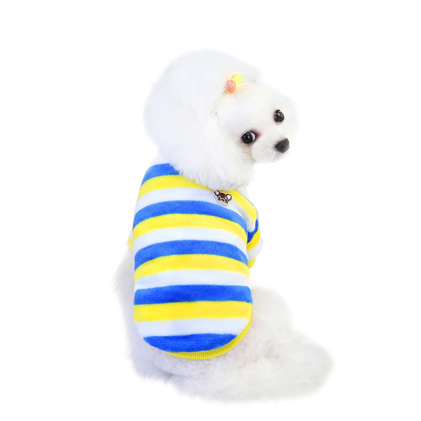 Yellow Blue White Striped Fleece Dog Jumper