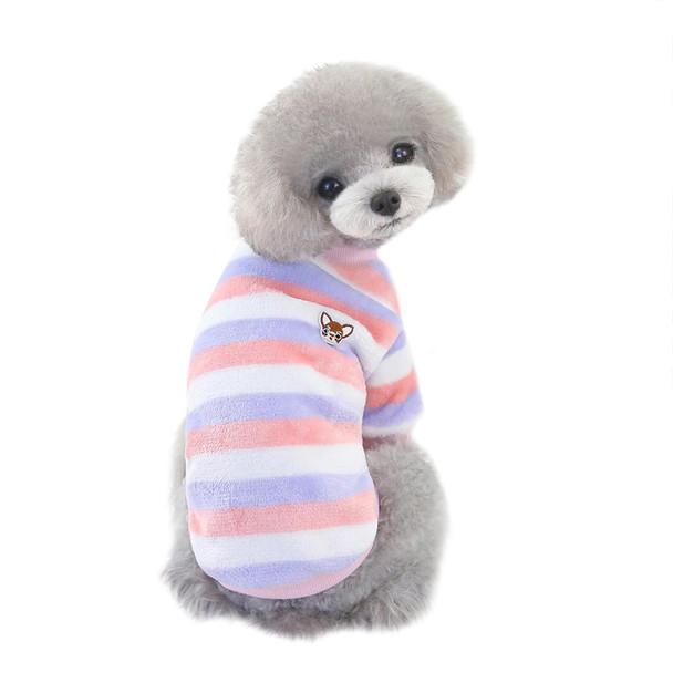 Pink Purple White Striped Fleece Dog Jumper