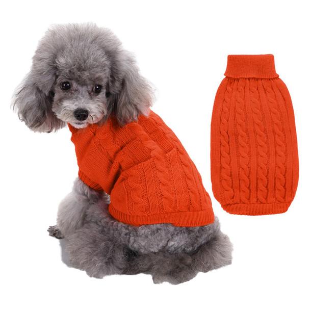 Orange Plain Turtleneck Knitted Dog Jumper