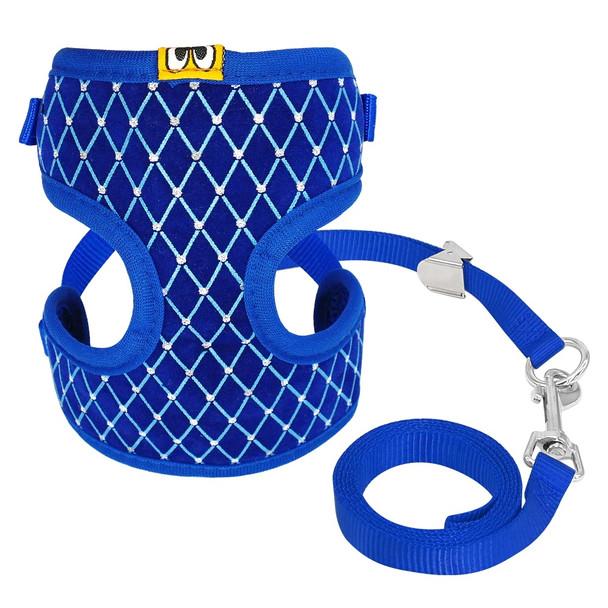 Blue Diamante Grid Dog Harness & Lead Set