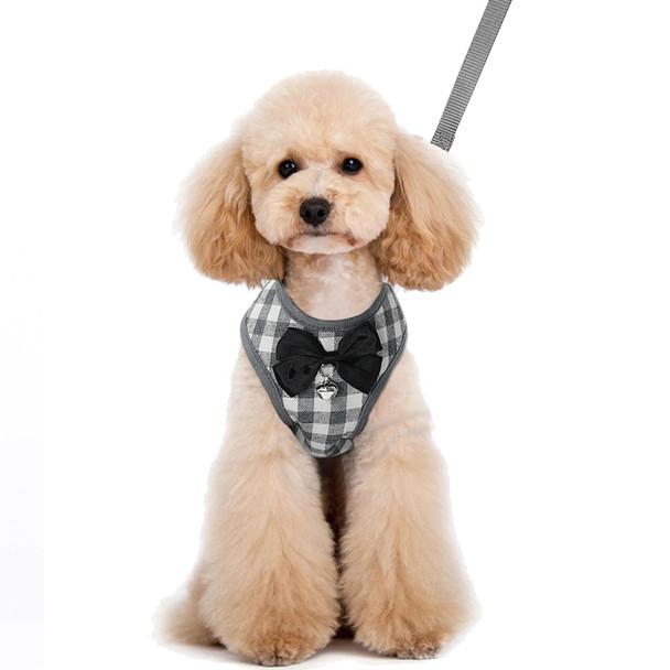 Grey White Plaid Bow Dog Harness & Lead Set