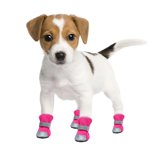 Pink Silver Reflective Dog Boots