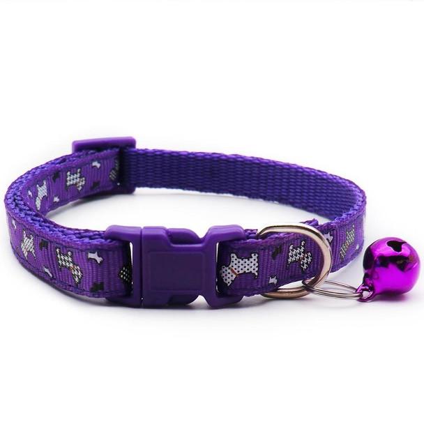 Small Purple Dogprint Nylon Dog Collar