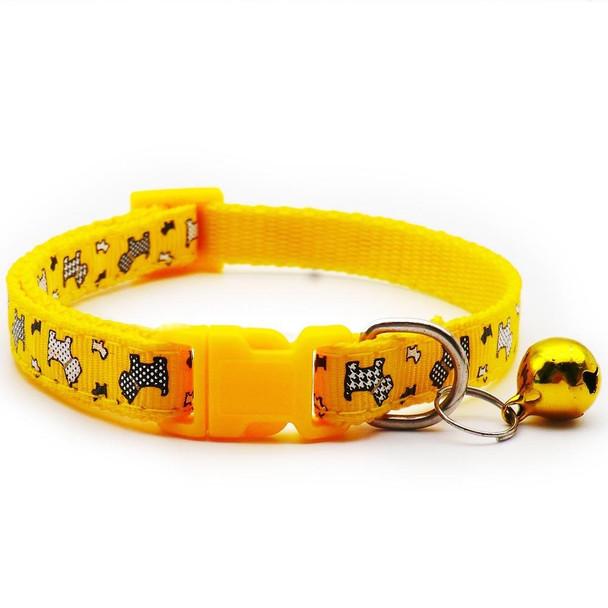 Small Yellow Dogprint Nylon Dog Collar
