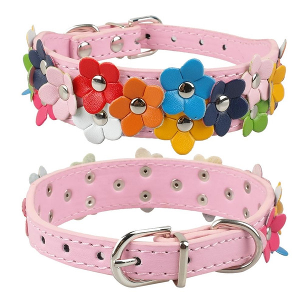 Pink PU Leather Flower Wide Dog Collar [Size S]