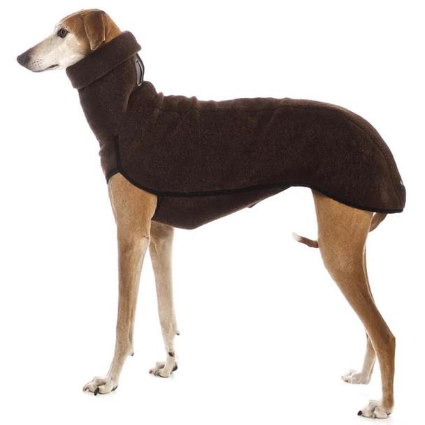 Brown Turtleneck Extra Long Fleece Dog Coat