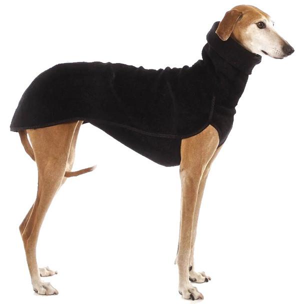 Black Turtleneck Extra Long Fleece Dog Coat