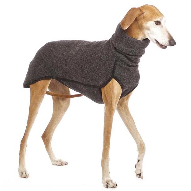 Dark Grey Turtleneck Extra Long Fleece Dog Coat