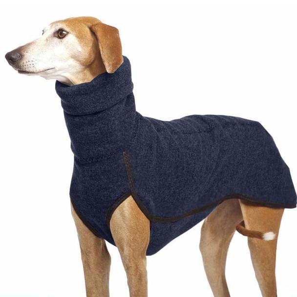 Navy Blue Turtleneck Extra Long Fleece Dog Coat