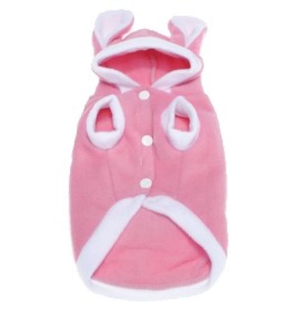 Pink Rabbit Fleece Dog Coat