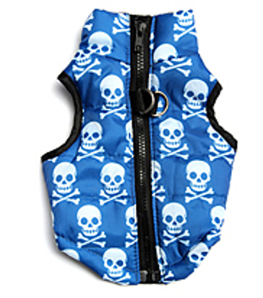 Blue Skull Dog Puffer Vest