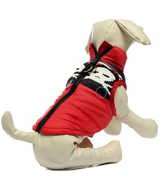 Red Skull Dog Puffer Vest