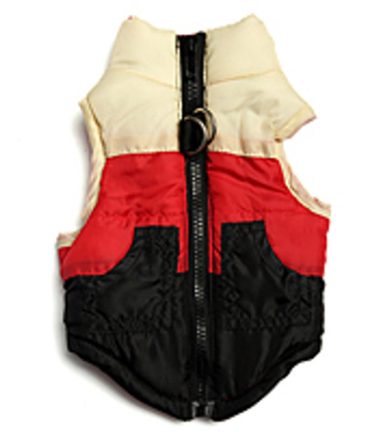 Black/Red/White Dog Puffer Vest